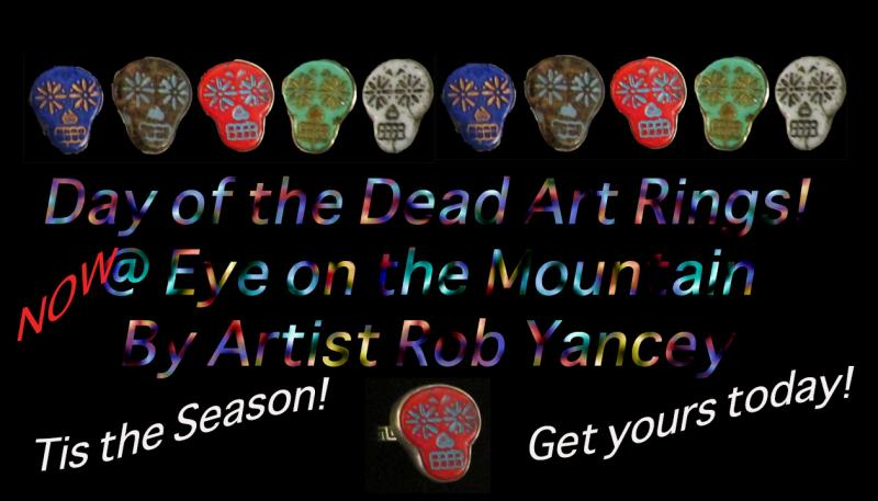 Day of the Dead Rings, Rings, Art Jewelry, Rob Yancey, Art Rings, Sugar Skulls