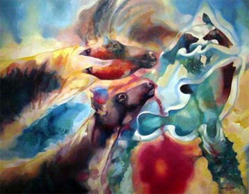 Michael Godey, Art, Paintings, Animal Art, Future of Animals, Eye on the Mnt